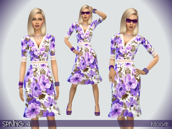 Sims 4 Spring 4 dress by Paogae at TSR