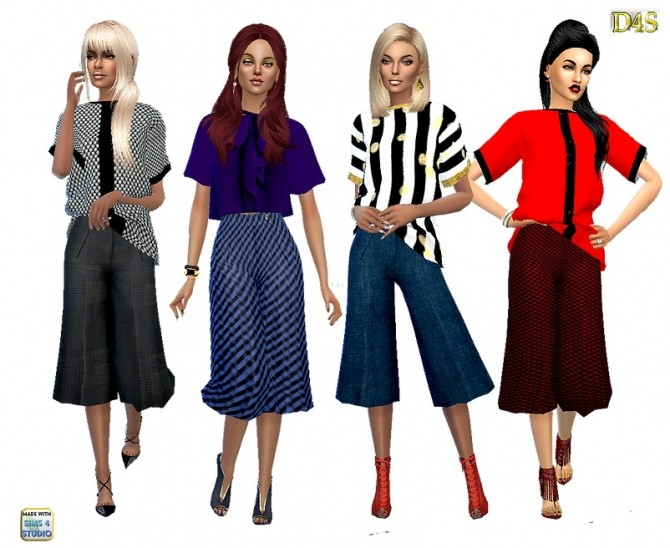 Sims 4 Wide leg midlenght pants at Dreaming 4 Sims