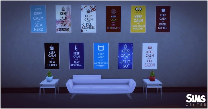 Sims 4 Keep Calm Posters Exclusive at SimsCenter