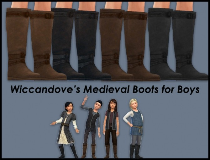 Sims 4 Wiccandoves Medieval Boots for Boys by Wiccandove at SimsWorkshop