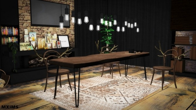 Rustic dining room at mxims sims 4 updates for Dining room ideas sims 4
