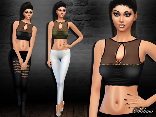 Sims 4 Embellished Crop Top by Saliwa at TSR