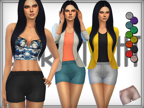 Sims 4 Belted Suede Shorts FIXED by DarkNighTt at TSR