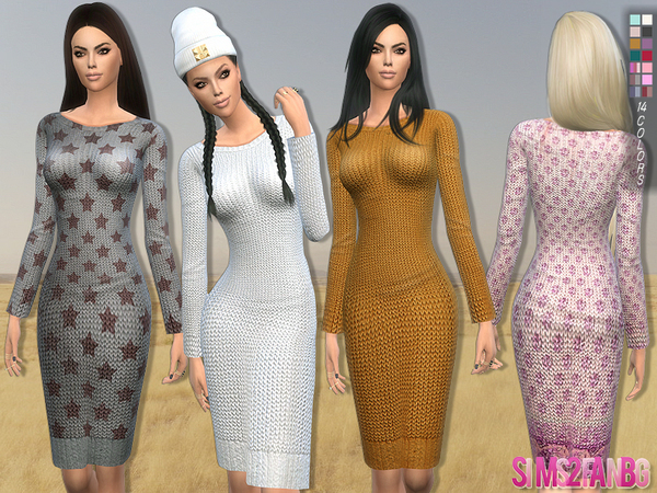 Sims 4 153 Sweater dress by sims2fanbg at TSR