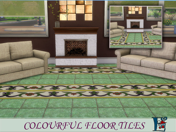 Sims 4 Colourful floor tiles by evi at TSR