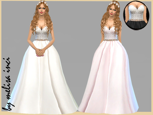 Strapless Lace Bodice Wedding Dress By Melisa Inci At Tsr