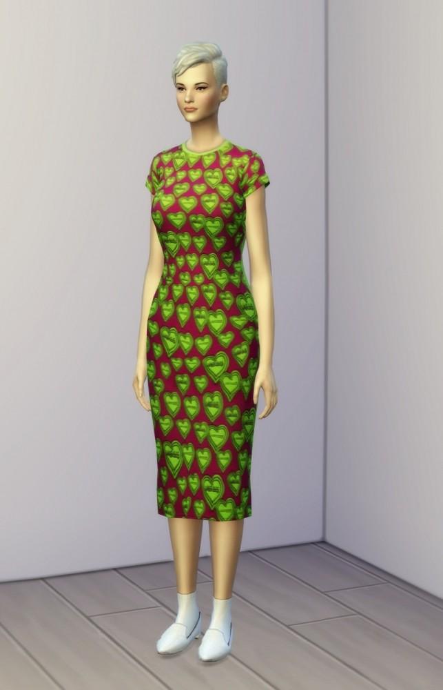 Sims 4 Green heart dress at Rusty Nail