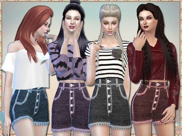 High Waisted Denim Shorts by Simlark at TSR image 2439 Sims 4 Updates