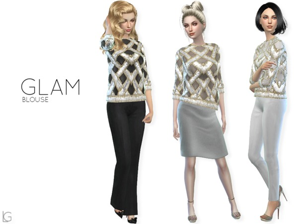 Sims 4 Glam blouse by linegud at TSR
