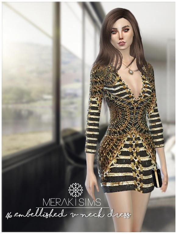Embellished V neck dress at Merakisims image 2522 Sims 4 Updates