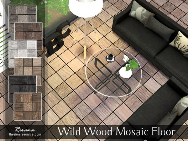Sims 4 Wild Wood Mosaic Floor by Rirann at TSR