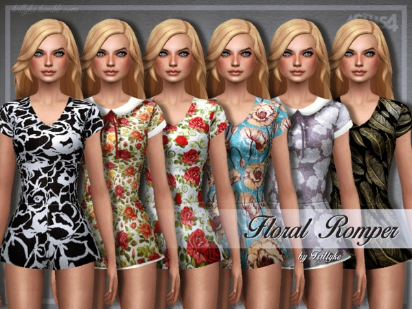 Sims 4 Trillyke Floral Romper by Trilly21 at TSR