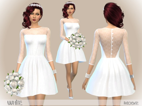 Sims 4 White dress by Paogae at TSR