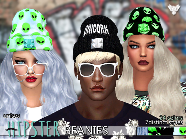 Sims 4 PZC Hipster Fantasy Beanies Pack by Pinkzombiecupcakes at TSR
