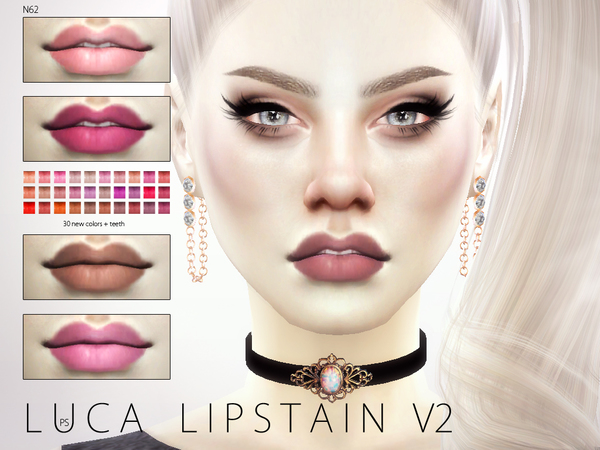 Sims 4 Luca Lipstain V2 N62 by Pralinesims at TSR