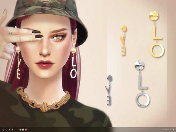 Sims 4 Love Earrings by toksik at TSR