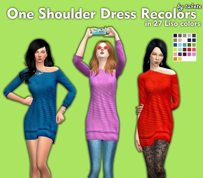 Sims 4 One Shoulder Dress Recolors at Tukete