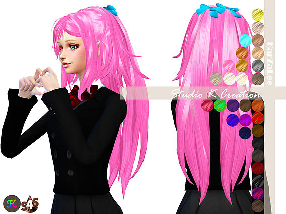 Sims 4 Animate hair 31 Reika at Studio K Creation