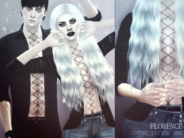 Sims 4 Florence Chest Tattoo N06 by Pralinesims at TSR