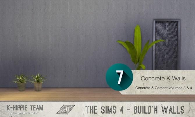 Sims 4 7x2 Concrete & Cement Walls Beton Plus Vol 3 & 4 at K hippie