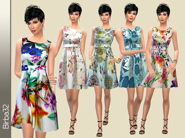 Sims 4 Blue Spring dress by Birba32 at TSR