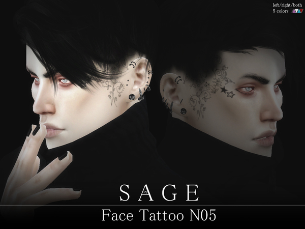Sage Face Tattoo N05 by Pralinesims at TSR image 406 Sims 4 Updates