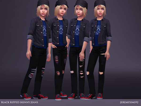 Sims 4 Black Ripped Skinny Jeans by jeremy sims92 at TSR