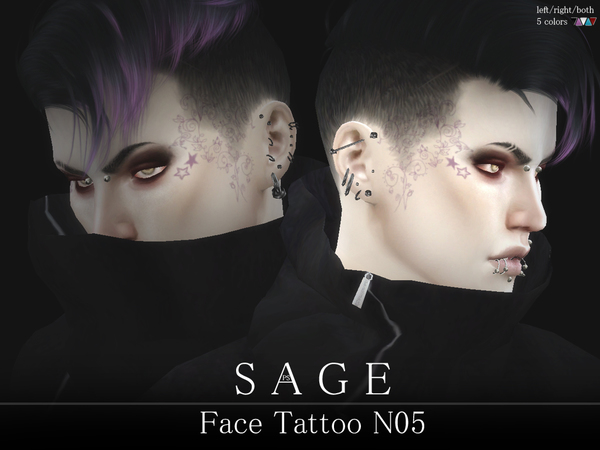 Sage Face Tattoo N05 by Pralinesims at TSR image 4110 Sims 4 Updates