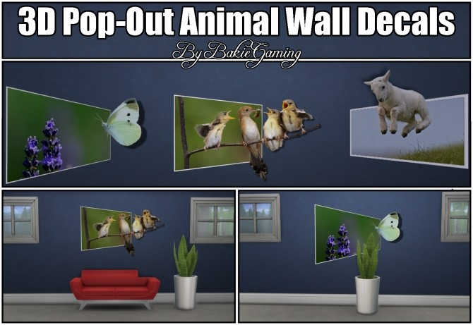 Sims 4 3D Pop Out Animal Spring Wall Decals by Bakie at Mod The Sims