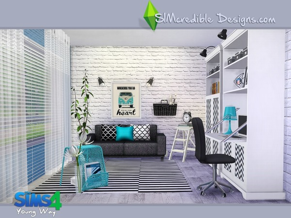 Sims 4 Young Way Living by SIMcredible! at TSR