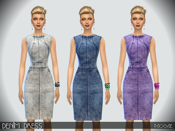 Sims 4 Denim Dress by Paogae at TSR