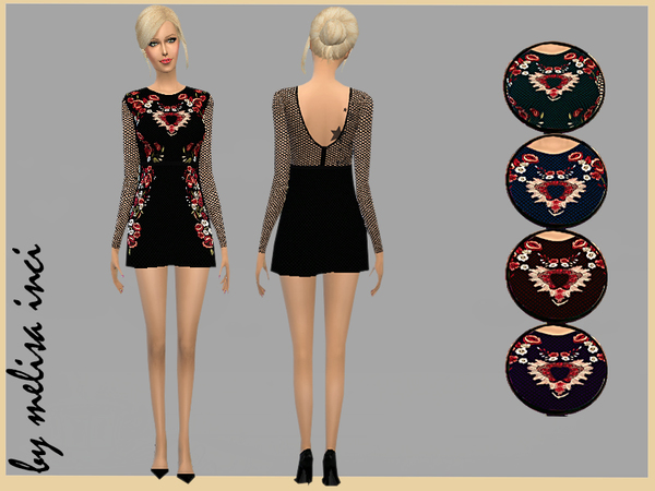 Sims 4 Midnight Garden Mini Dress by melisa inci at TSR