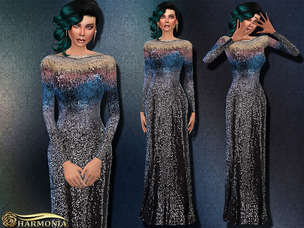 Sims 4 Heavily Embellished Sequined Gown by Harmonia at TSR
