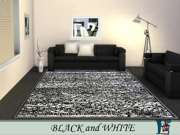 Sims 4 Black and White rugs by evi at TSR