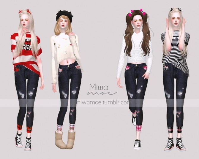 Skinny Jeans with Plaid Detail at Miwamoe image 607 670x536 Sims 4 Updates