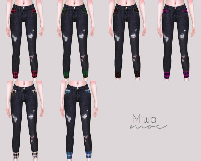Skinny Jeans with Plaid Detail at Miwamoe image 6111 670x536 Sims 4 Updates