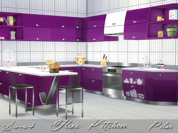 Flux kitchen by pilar at tsr sims 4 updates for Sims 4 kitchen designs