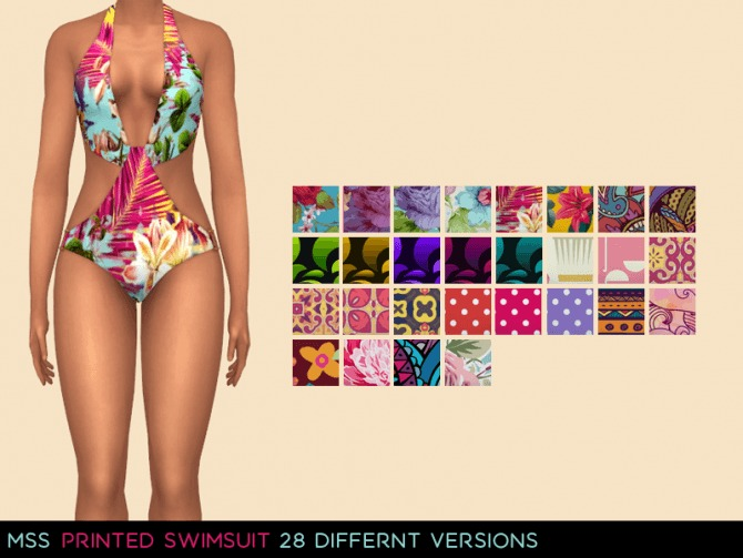 Sims 4 Printed Swimsuit by midnightskysims at SimsWorkshop