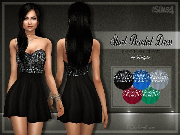 Sims 4 Short Beaded Dress by Trilly21 at TSR