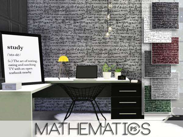 Sims 4 Mathematics walls by Pralinesims at TSR