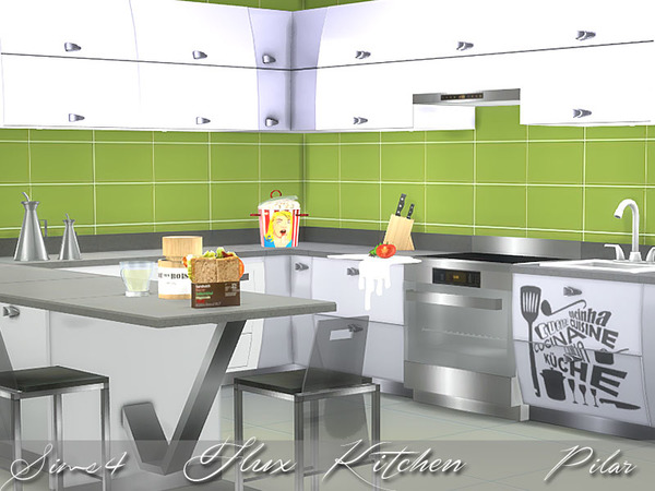 Sims 4 Flux Kitchen by Pilar at TSR