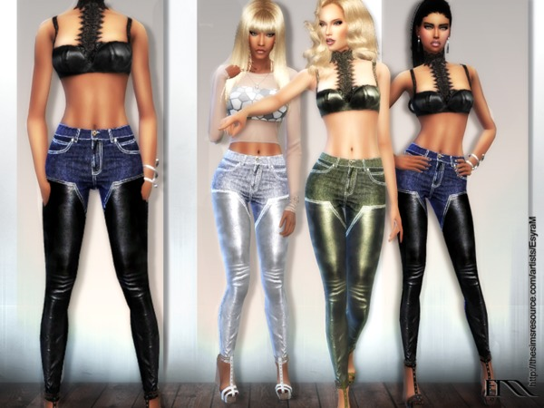 Cotton and leather jeans by EsyraM at TSR image 760 Sims 4 Updates