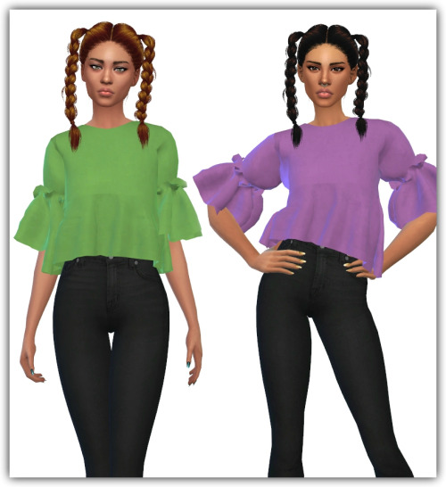 Sims 4 Ruffle Blouse Recolors at Maimouth Sims4