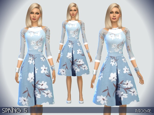 Sims 4 Spring 5 dress by Paogae at TSR