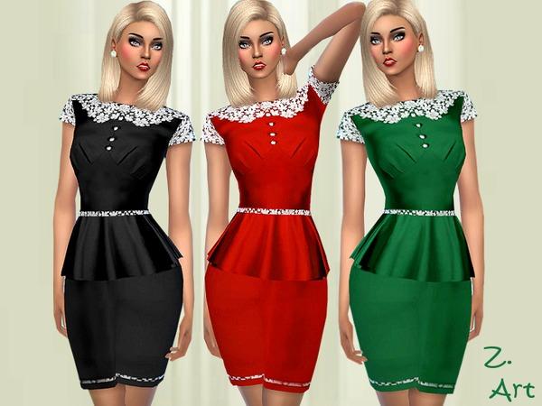 Sims 4 Vintage Satin dress by Zuckerschnute20 at TSR