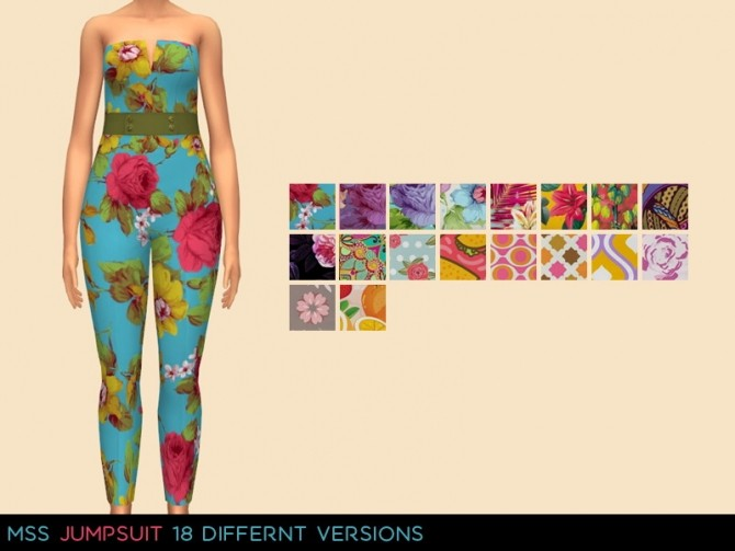 Sims 4 Printed Jumpsuit by midnightskysims at SimsWorkshop