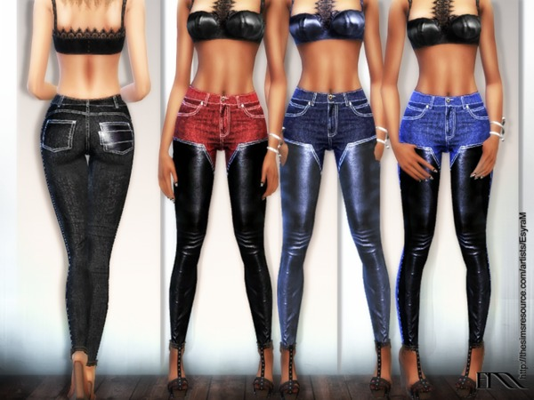 Cotton and leather jeans by EsyraM at TSR image 860 Sims 4 Updates