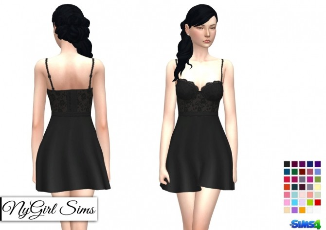 Lace Corset Flare Dress at NyGirl Sims image 867 670x473 Sims 4 Updates