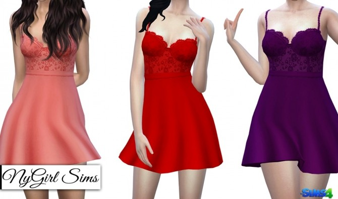Lace Corset Flare Dress at NyGirl Sims image 877 670x396 Sims 4 Updates