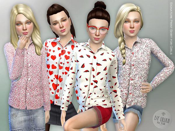 Sims 4 Signature Print Shirt for Girls by lillka at TSR